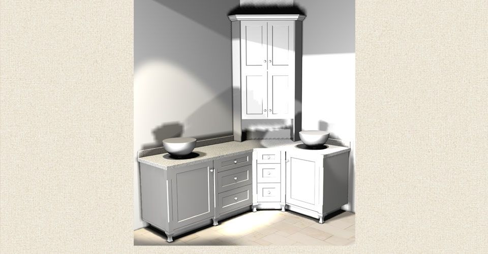 white cabinet and counter concept