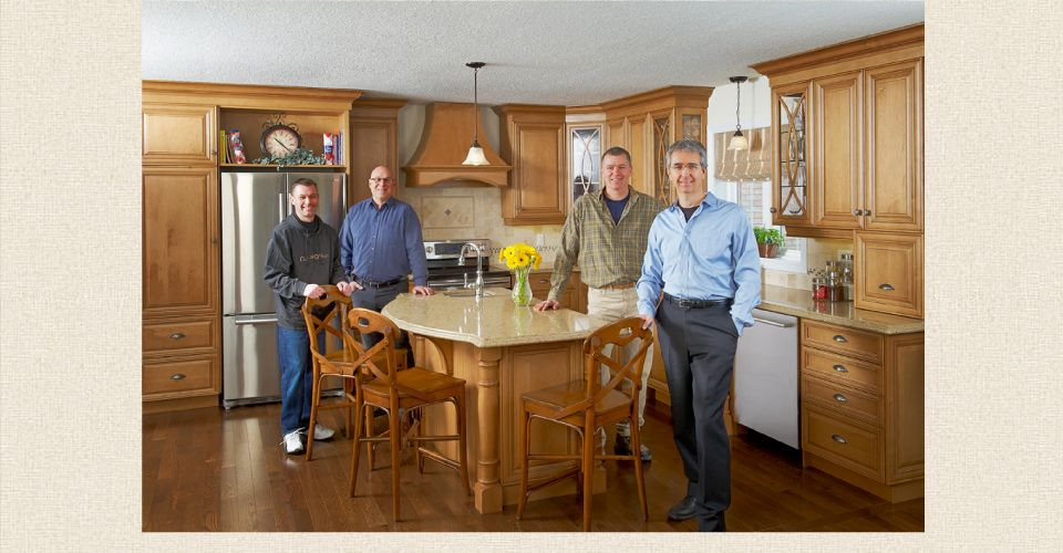 family in custom kitchen